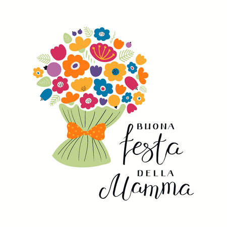 Hand written lettering quote Happy Mothers Day in Italian, Buona festa della mama, with a bouquet flowers. Isolated objects on white. Vector illustration. Design concept for banner, greeting card. Ilustração