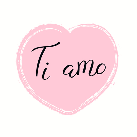 Hand written lettering quote Love you in Italian, Ti amo, in a heart. Isolated objects on white background. Vector illustration. Design concept for banner, greeting card. Illusztráció