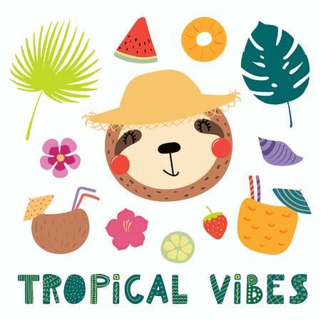 Hand drawn vector illustration of a cute funny sloth in a straw hat, with summer elements, lettering quote Tropical vibes. Isolated objects. Scandinavian style flat design. Concept for children print. Banque d'images - 100127408