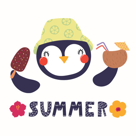 Hand drawn vector illustration of a cute funny penguin in a bucket hat, with a cocktail, ice cream, lettering quote Summer. Isolated objects. Scandinavian style flat design. Concept for children print. Ilustração