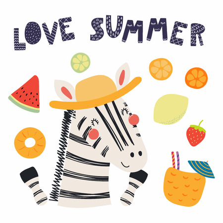 Hand drawn vector illustration of a cute funny zebra in a straw hat, with summer elements, lettering quote Love summer. Isolated objects. Scandinavian style flat design. Concept for children print.