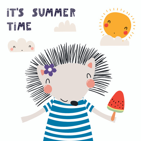 Hand drawn vector illustration of a cute funny hedgehog in a striped shirt, with ice cream, lettering quote Its summer time. Isolated objects. Scandinavian style flat design. Concept for kids print. Vectores