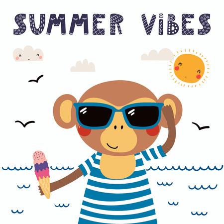 水着、サングラス、アイスクリーム、レタリング引用夏のバイブでかわいい面白い猿の手描きベクトルイラスト。分離オブジェクト。スカンジナビ