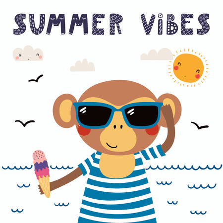 Hand drawn vector illustration of a cute funny monkey in a swimsuit, sunglasses, with ice cream, lettering quote Summer vibes. Isolated objects. Scandinavian style flat design. Concept children print.