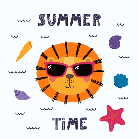 불가사리와 바다 조개, 레터링 견적 여름 시간 선글라스에 귀여운 재미있는 사자의 손으로 그린 벡터 일러스트. 고립 된 개체. 스칸디나비아 스타일의  일러스트