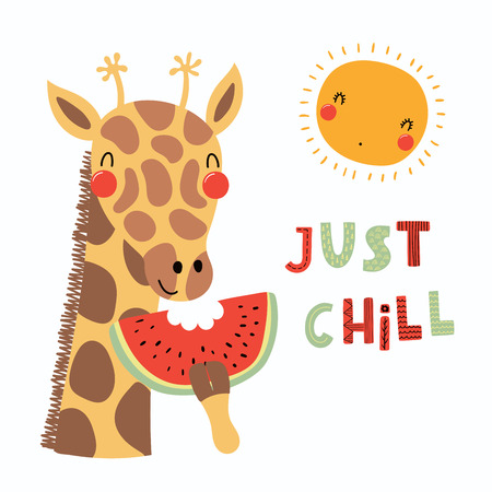 Hand drawn vector illustration of a cute funny giraffe eating watermelon, with sun, lettering quote Just chill. Isolated objects. Scandinavian style flat design. Concept for children print.  イラスト・ベクター素材