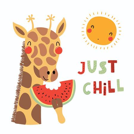 Illustration vectorielle dessinés à la main d'une girafe drôle mignonne mangeant la pastèque, avec le soleil, lettrage citation Just chill. Objets isolés. Design plat de style scandinave. Concept pour les enfants imprimer. Banque d'images - 99974986