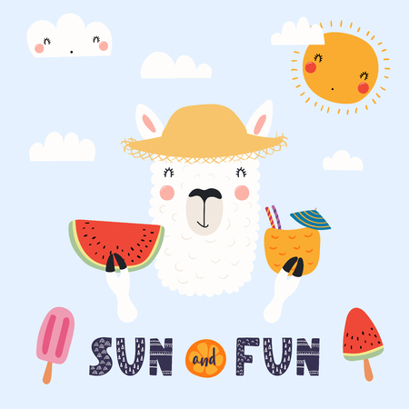 Hand drawn vector illustration of a cute funny llama in a straw hat with watermelon, cocktail, lettering quote Sun and fun. Isolated objects. Scandinavian style flat design. Concept for children print Illustration