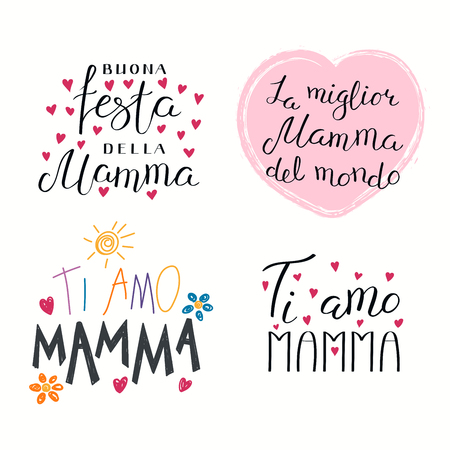 Set of hand written Mothers Day lettering quotes in Italian Illustration