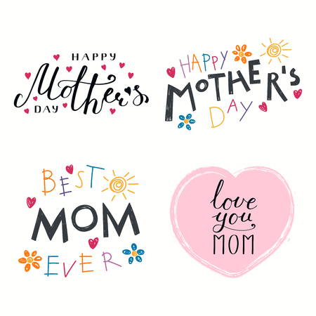 Set of hand written Mothers Day lettering quotes, with hearts. Isolated objects on white background vector illustration. Design concept for banner, greeting card.