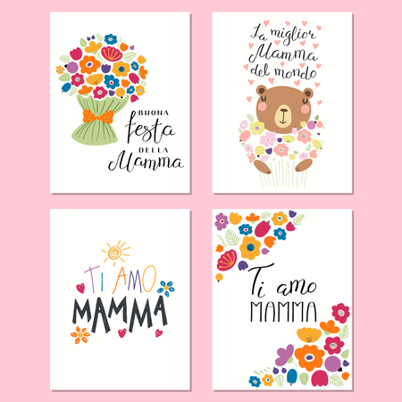 Set of mothers day cards templates with lettering quotes in set of mothers day cards templates with lettering quotes in italian stock vector 100251262 maxwellsz