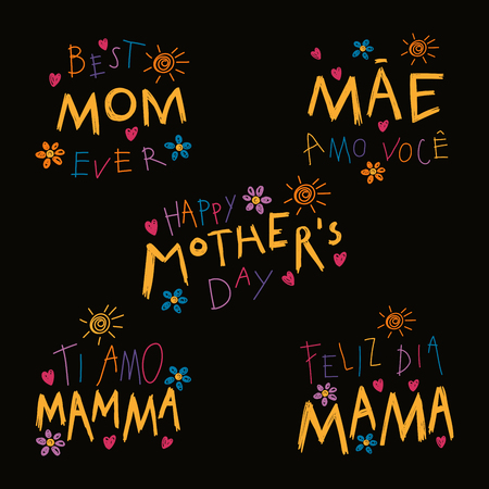 Set of hand written Mothers Day lettering quotes in Spanish Ilustração