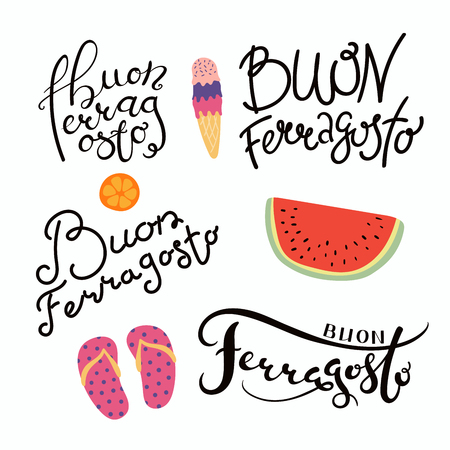 Set of hand written Ferragosto lettering quotes in Italian,with summer objects. Isolated objects on white background. Vector illustration. Design concept for Italian holiday. Banque d'images - 100294131