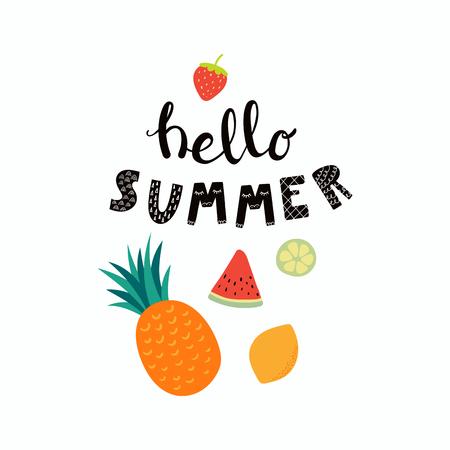 Citation de lettrage dessiné à la main Bonjour l'été avec des fruits. Objets isolés sur fond blanc. Illustration vectorielle. Design plat de style scandinave. Concept pour les enfants imprimer. Vecteurs