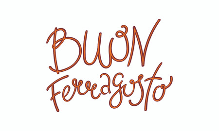 Hand written lettering quote Buon, meaning Happy in Italian, Ferragosto. Isolated objects on white background. Vector illustration. Design concept for Italian summer holiday. 版權商用圖片 - 100294140