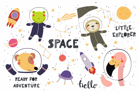 Big set of cute funny animal astronauts in space, with planets, stars, quotes. Isolated objects on white background. Vector illustration. Scandinavian style flat design. Concept for children print. Foto de archivo - 100322566
