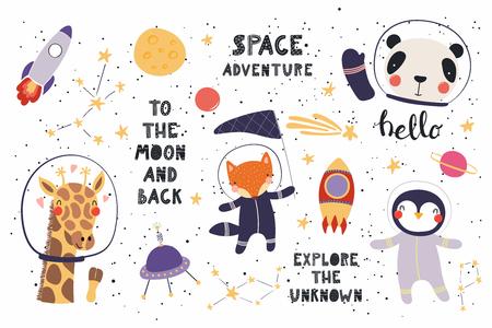 Großer Satz niedlicher lustiger Tierastronauten im Raum, mit Planeten, Sternen, Zitaten. Isolierte Objekte auf weißem Hintergrund. Vektorillustration. Flaches Design im skandinavischen Stil. Konzept für Kinder drucken.