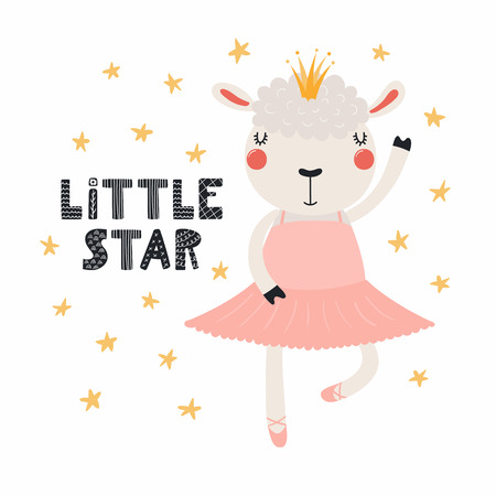Hand drawn vector illustration of a cute funny sheep ballerina in a tutu, pointe shoes, with lettering quote Little star. Isolated objects. Scandinavian style flat design. Concept for children print.