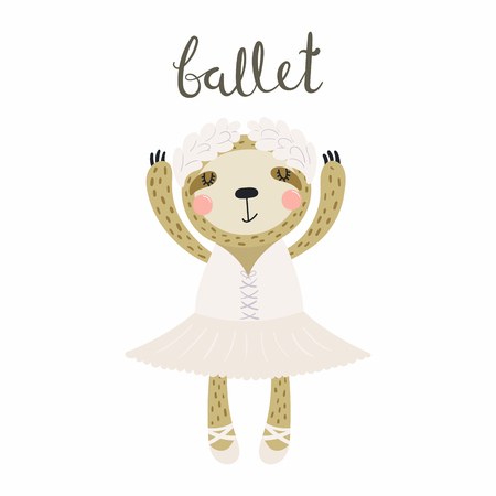 Hand drawn vector illustration of a cute funny sloth ballerina in a tutu, pointe shoes, with lettering quote Ballet. Isolated objects. Scandinavian style flat design. Concept for children print.