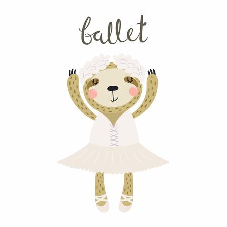 Illustration vectorielle dessinés à la main d'une ballerine paresseux drôle mignon dans un tutu, chaussures de pointe, avec lettrage citation Ballet. Objets isolés. Design plat de style scandinave. Concept pour les enfants imprimer. Banque d'images - 100549122