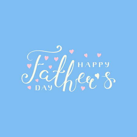 Hand written lettering quote Happy Fathers Day with hearts. Isolated objects on blue background. Vector illustration. Design concept for banner, greeting card.