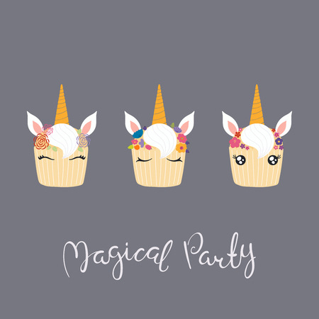 Set of cute funny cupcakes with unicorn faces, horns, ears, flowers, lettering quote Magical party. Isolated objects on gray background. Vector illustration. Flat style design. Concept children print.