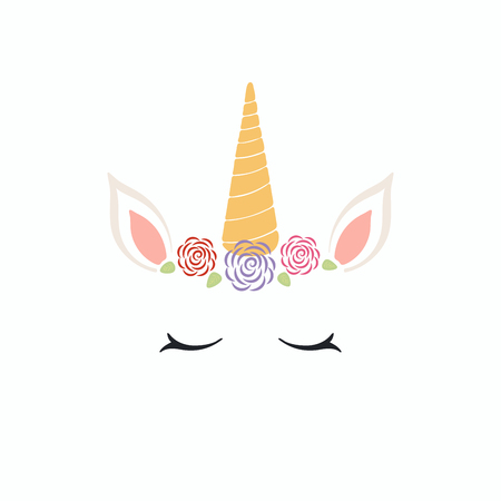 Hand drawn vector illustration of a cute funny unicorn face cake decoration with roses. Isolated objects on white background. Flat style design. Concept for children print.