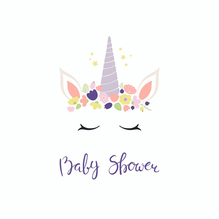 Hand drawn vector illustration of a cute funny unicorn face cake decoration with flowers, lettering quote Baby shower. Isolated objects on white background. Flat style design. Concept children print.