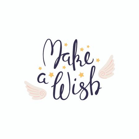 Citazione scritta scritta a mano Esprimi un desiderio con ali d'angelo e stelle. Oggetti isolati su sfondo bianco. Illustrazione vettoriale. Concetto di design per banner, biglietto di auguri. Vettoriali