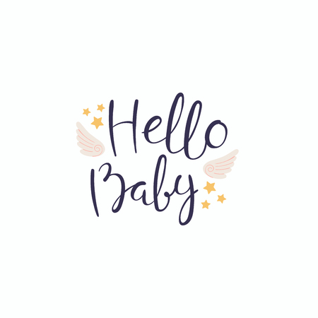 Hand written lettering quote Hello baby with angel wings and stars. Isolated objects on white background. Vector illustration. Design concept for banner, greeting card.