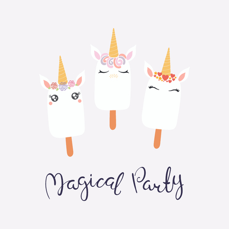 Set of cute funny ice cream with unicorn faces, horns, ears, flowers, lettering quote Magical party. Isolated on light background. Vector illustration. Flat style design. Concept for children print. Illustration