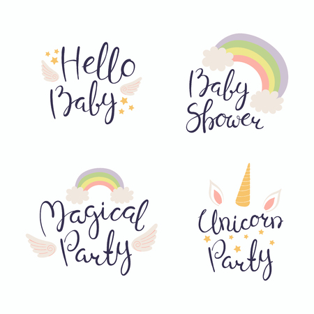 Set of hand written baby shower lettering quotes, with hearts, stars, angel wings and rainbow. Isolated objects on white background. Vector illustration. Design concept for invitation, greeting card.