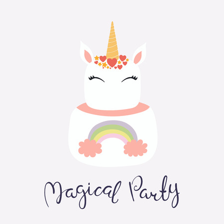 Hand drawn vector illustration of a cute funny unicorn cake with face, horn, ears, hearts, lettering quote Magical party. Isolated on light background. Flat style design. Concept for children print.