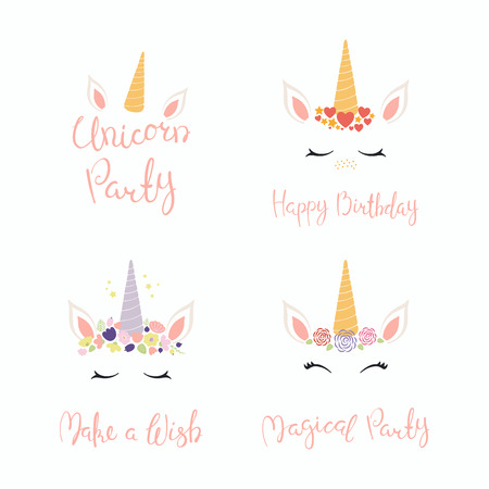 Set of hand written birthday lettering quotes, with cute unicorn faces. Isolated objects on white background. Vector illustration. Design concept for banner, invitation, greeting card. Çizim