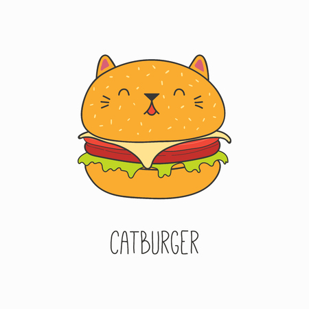 Hand drawn vector illustration of a kawaii funny burger with cat ears. Isolated objects on white background. Line drawing. Design concept for cat cafe menu, children print. Vectores