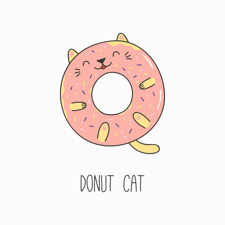 Hand drawn vector illustration of a kawaii funny donut with cat ears. Isolated objects on white background. Line drawing. Design concept for cat cafe menu, children print. Illustration