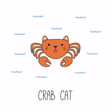 Hand drawn vector illustration of a kawaii funny cat crab, swimming in the sea. Isolated objects on white background. Line drawing. Design concept for children print.