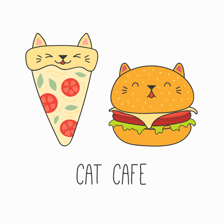 Hand drawn vector illustration of a kawaii funny pizza slice and burger with cat ears. Isolated objects on white background. Line drawing. Design concept for cat cafe menu, children print. Vettoriali