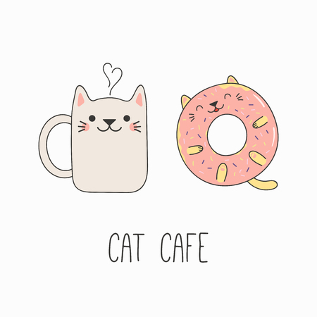 Hand drawn vector illustration of a kawaii funny steaming mug cup and donut with cat ears. Isolated objects on white background. Line drawing. Design concept for cat cafe menu, children print. Illustration