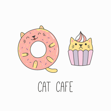Hand drawn vector illustration of a kawaii funny cupcake and donut with cat ears. Isolated objects on white background. Line drawing. Design concept for cat cafe menu, children print.