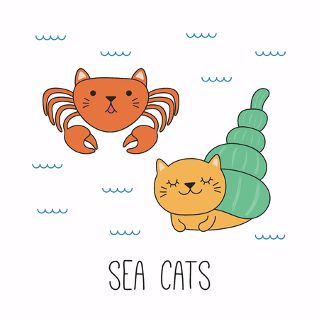 Hand drawn vector illustration of a kawaii funny cat hermit and regular crab, swimming in the sea. Isolated objects on white background. Line drawing. Design concept for children print. Illustration