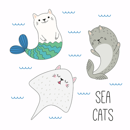 Hand drawn vector illustration of a kawaii funny cat mermaid, stingray, seal, swimming in the sea. Isolated objects on white background. Line drawing. Design concept for children print.