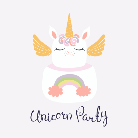 Hand drawn vector illustration of a cute funny unicorn cake with face, horn, ears, wings, lettering quote Unicorn party. Isolated on light background. Flat style design. Concept for children print. Illustration