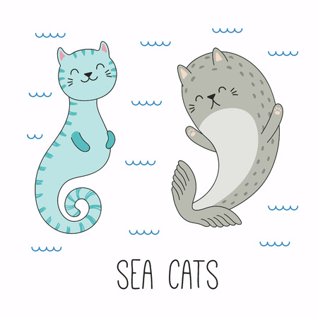 Hand drawn vector illustration of a kawaii funny cat seahorse, seal, swimming in the sea. Isolated objects on white background. Line drawing. Design concept for children print.