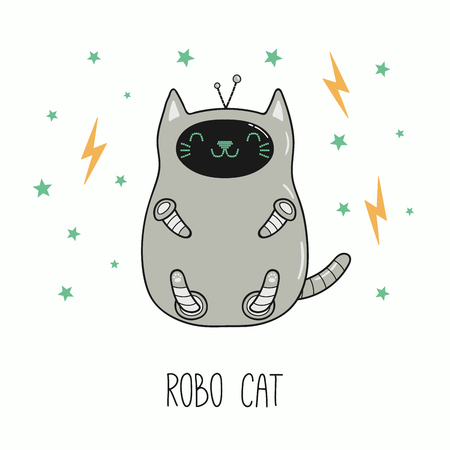 Hand drawn vector illustration of a kawaii funny robot cat. Isolated objects on white background. Line drawing. Design concept for children print.