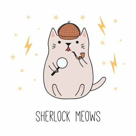 Hand drawn vector illustration of a kawaii funny detective cat in a deerstalker hat, with magnifying glass, pipe. Isolated objects on white background. Line drawing. Design concept for children print. Vectores