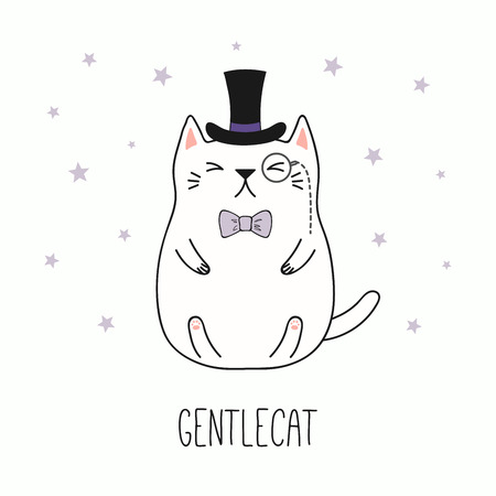 Hand drawn vector illustration of a kawaii funny gentleman cat in a top hat, bow tie, with monocle. Isolated objects on white background. Line drawing. Design concept for children print.