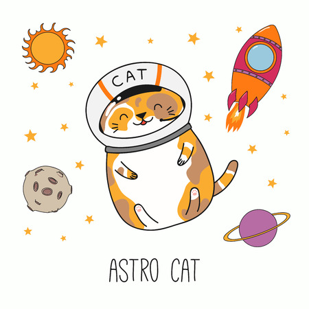 Hand drawn vector illustration of a kawaii funny astronaut cat in a helmet, with rocket, planets. Isolated objects on white background. Line drawing. Design concept for children print.