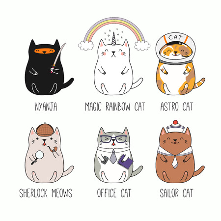 Set of different hand drawn kawaii cats, ninja, unicorn, astronaut, detective, office worker, sailor. Isolated objects on white background. Line drawing. Vector illustration. Design concept kids print