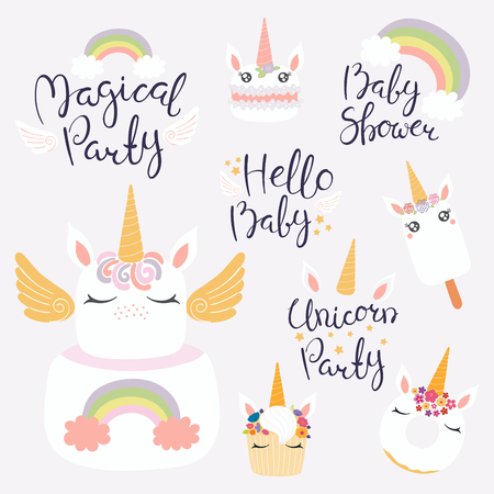 Set of hand written baby shower lettering quotes, desserts with cute unicorn faces. Isolated objects on light background. Vector illustration. Design concept for banner, invitation, greeting card. 일러스트